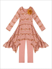 Girls Taupe Lace Sidetail Tunic & Matching Leggings Set - Fall Low Stock