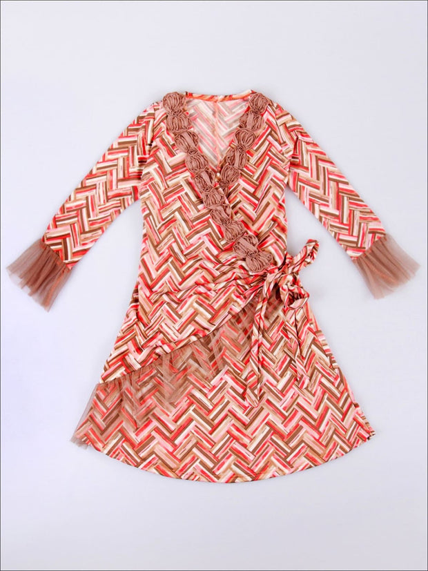 Girls Taupe & Pink Chevron Wrap Dress - Girls Fall Casual Dress