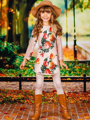 Girls Taupe Rose Print Long Sleeve Lace Patch Sleeve Tunic & Matching Leggings Set - Girls Fall Casual Set