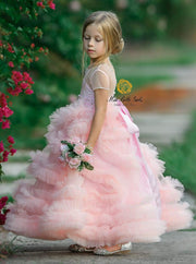Girls Tea-Length Gala Communion Flower Girl Dress with Cascading Tulle Bouquets - Girls Gown