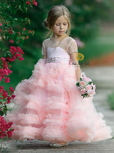 Girls Tea-Length Gala Communion Flower Girl Dress with Cascading Tulle Bouquets - Pink / 2T - Girls Gown