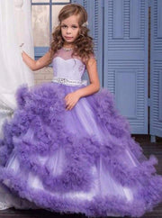 Girls Tea-Length Gala Communion Flower Girl Dress with Cascading Tulle Bouquets - Purple / 2T - Girls Gown
