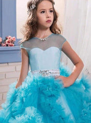 Girls Tea-Length Gala Communion Flower Girl Dress with Cascading Tulle Bouquets - Sky Blue / 2T - Girls Gown