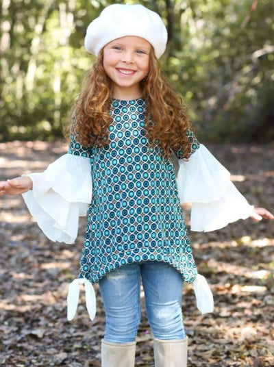Girls Teal & Black Geometric Print Gold Glittered Creme Ruffled Flared Sleeve Sidetail Tunic - Blue / 2T/3T - Girls Fall Top