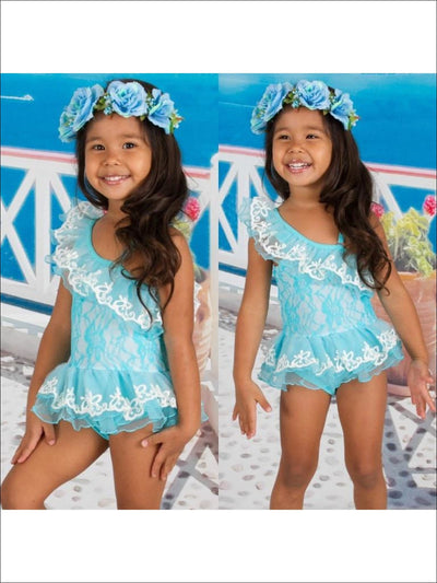 Girls Teal One Shoulder Mesh Ruffle & Tutu With Lace Body Detail