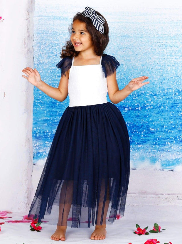 Girls Textured Top Flutter Sleeve Multilayer Skirt Dress - Girls Spring Dressy Dress