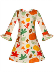 Girls Thanksgiving Themed Flared Long Sleeve Printed Dress - Girls Fall Casual Dress