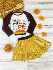 Girls Thanksgiving Themed Im Just Here for the Pie Long Sleeve Raglan Top & Sequin Skirt Set - Brown / S-3T - Girls Thanksgiving Set