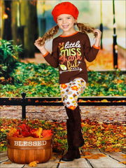 Girls Thanksgiving Themed Little Miss Thankful Long Sleeve Top & Printed Leggings Set - Girls Fall Casual Set
