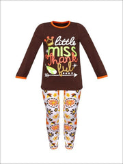 Girls Thanksgiving Themed Little Miss Thankful Long Sleeve Top & Printed Leggings Set - Brown / S-3T - Girls Fall Casual Set