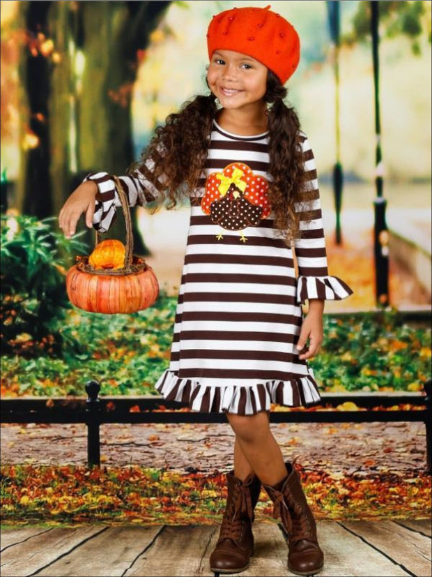 Girls Thanksgiving Themed Long Sleeve Striped Turkey Ruffled Dress - Girls Thanksgiving Dress