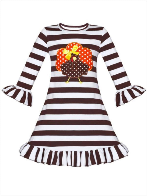 Girls Thanksgiving Themed Long Sleeve Striped Turkey Ruffled Dress - Brown / S-3T - Girls Thanksgiving Dress