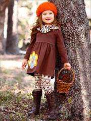 Girls Thanksgiving Themed Long Sleeve Turkey Applique Tunic Leggings & Scarf Set - Girls Thanksgiving Set