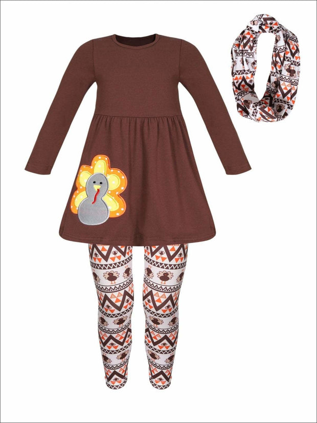 Girls Thanksgiving Themed Long Sleeve Turkey Applique Tunic Leggings & Scarf Set - Brown / 3T - Girls Thanksgiving Set