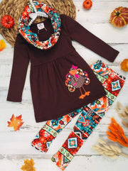 Girls Thanksgiving Themed Long Sleeve Turkey Applique Tunic Leggings & Scarf Set - Multicolor / 10Y - Girls Thanksgiving Set