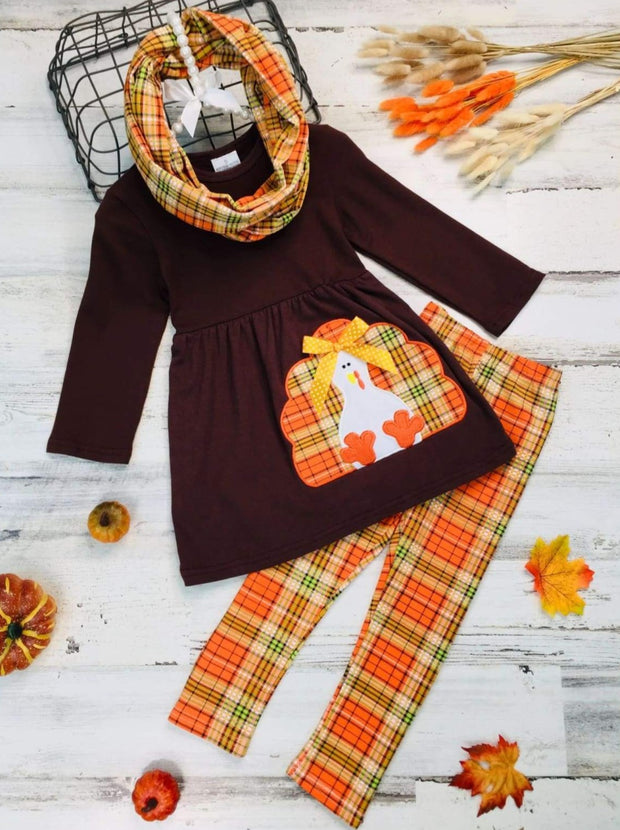 Girls Thanksgiving Themed Long Sleeve Turkey Applique Tunic Leggings & Scarf Set - Orange / 3T - Girls Thanksgiving Set