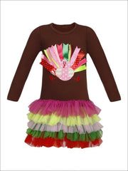 Girls Thanksgiving Themed Long Sleeve Turkey Ruffled Tutu Dress - Girls Thanksgiving Dress
