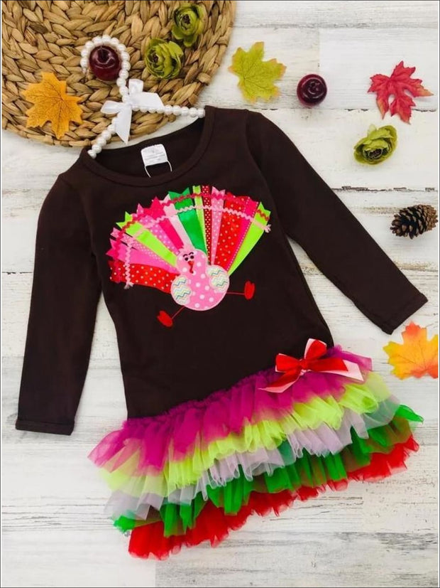 Girls Thanksgiving Themed Long Sleeve Turkey Ruffled Tutu Dress - Multicolor / S-3T - Girls Thanksgiving Dress