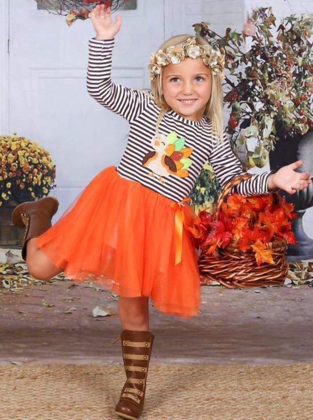 Girls Thanksgiving Themed Striped Long Sleeve Tutu Dress with Turkey Applique - Girls Thanksgiving Dress