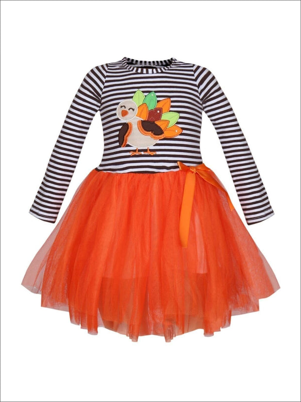 Girls Thanksgiving Themed Striped Long Sleeve Tutu Dress with Turkey Applique - Orange / XS-2T - Girls Thanksgiving Dress