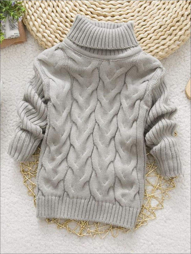 Girls Thick Knitted Turtle-Neck Sweater(5 Style Options) - Grey / 2T - Girls Sweater
