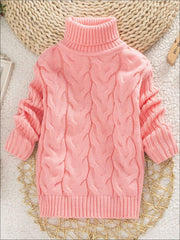 Girls Thick Knitted Turtle-Neck Sweater(5 Style Options) - Pink / 2T - Girls Sweater