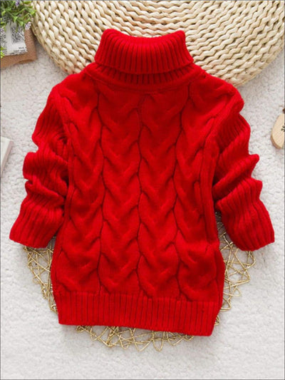 Girls Thick Knitted Turtle-Neck Sweater(5 Style Options) - Red / 2T - Girls Sweater