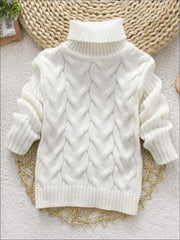 Girls Thick Knitted Turtle-Neck Sweater(5 Style Options) - White / 2T - Girls Sweater