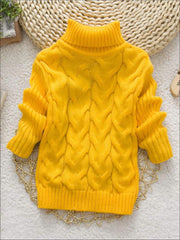 Girls Thick Knitted Turtle-Neck Sweater(5 Style Options) - Yellow / 2T - Girls Sweater