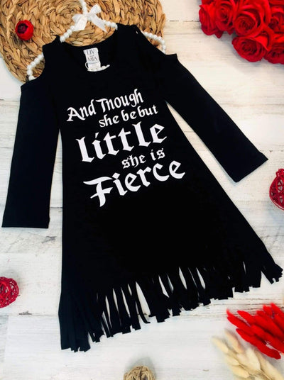 Girls Though She Be But Little She is Fierce Cold Shoulder Fringe Graphic Statement Dress - Girls Fall Casual Dress