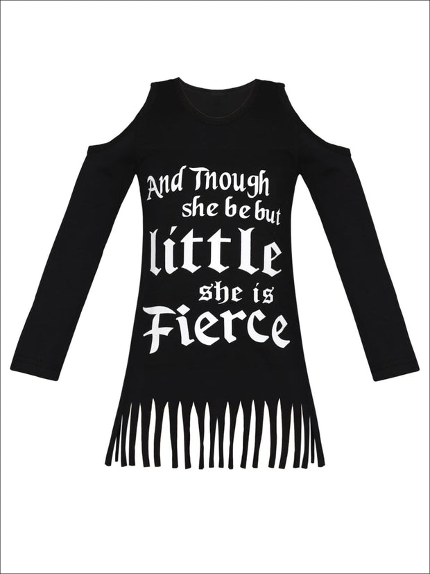 Girls Though She Be But Little She is Fierce Cold Shoulder Fringe Graphic Statement Top - Black / 2T/3T - Girls Fall Top