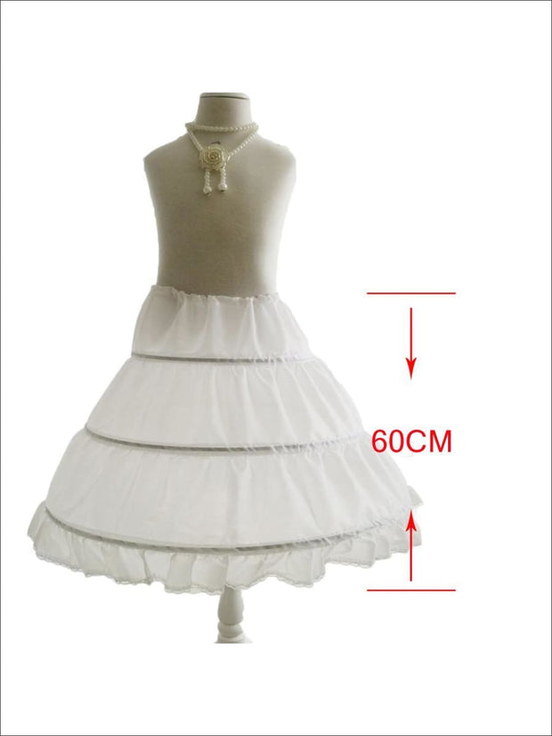 Girls Three Hoops Petticoat - One Size / White - Girls Petticoats