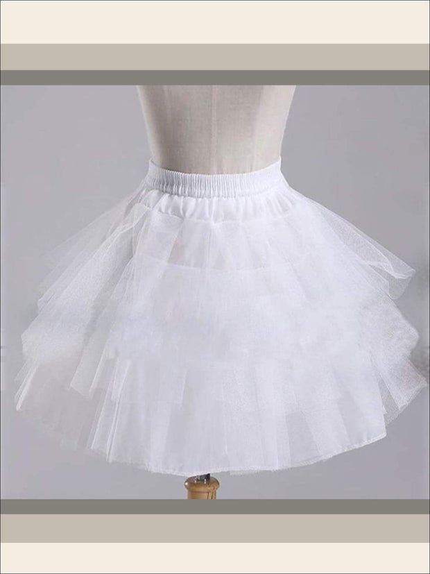 Girls Three Layered Petticoat - White / One Size - Girls Petticoats