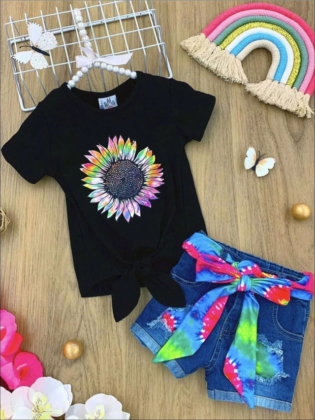 Girls Tie Dye Sunflower Knot Tie Top and Belted Denim Shorts Set - Rainbow / 2T - Girls Spring Casual Set