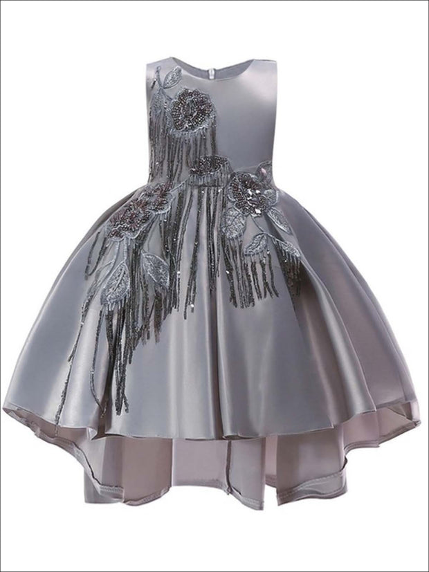 Girls Tiered Lace Pearl Embellished Hi Low Holiday Dress with Floral Embroidery (3 Color Options) - Gray / 5Y - Girls Fall Dressy Dress