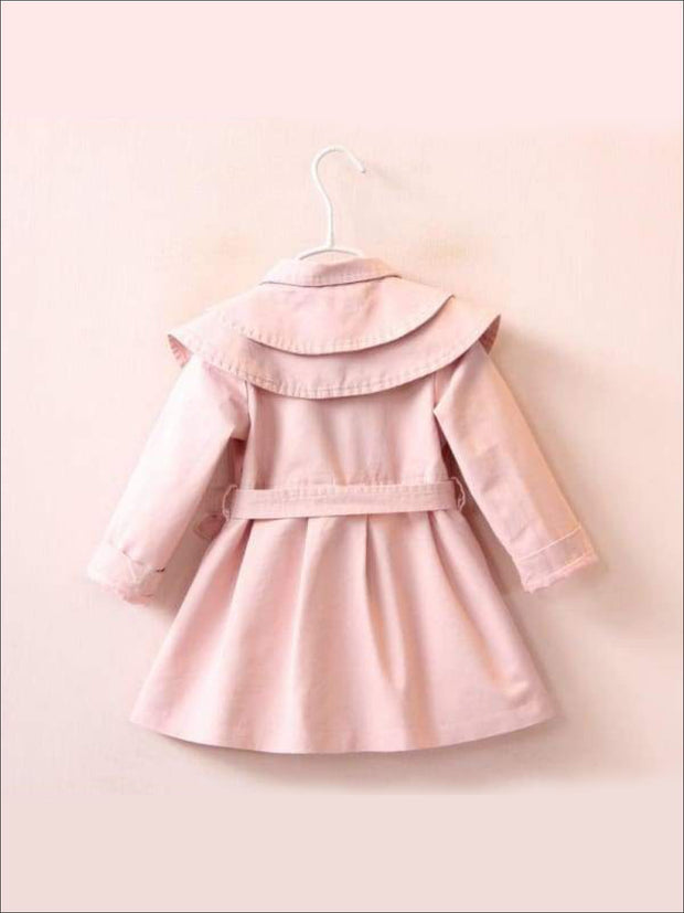 Girls Tiered Lapel Collar Trench Coat with Belt - Girls Jacket