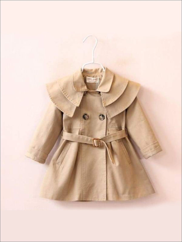 Girls Tiered Lapel Collar Trench Coat with Belt - Khaki / 2T - Girls Jacket