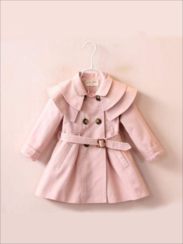 Girls Tiered Lapel Collar Trench Coat with Belt - Pink / 2T - Girls Jacket