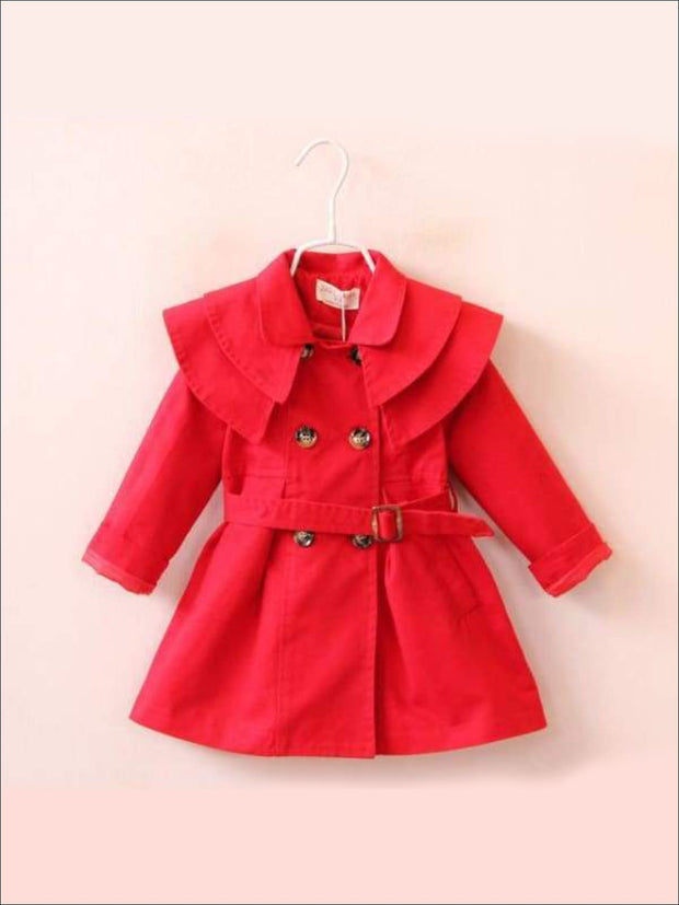 Girls Tiered Lapel Collar Trench Coat with Belt - Red / 2T - Girls Jacket