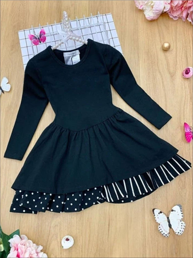 Girls Tiered Polka Dot and Striped Dress - Black / 3T - Girls Spring Casual Dress