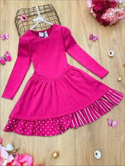 Girls Tiered Polka Dot and Striped Dress - Fuchsia / 5Y - Girls Spring Casual Dress