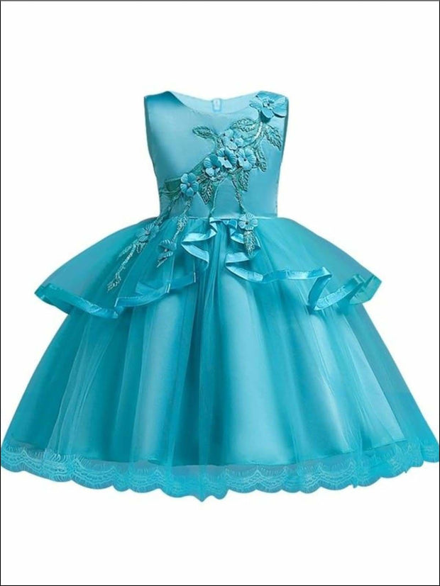 Girls Tiered Ruffle Flower Applique Special Occasion Dress - BLUE / 3T - Girls Dressy Dresses