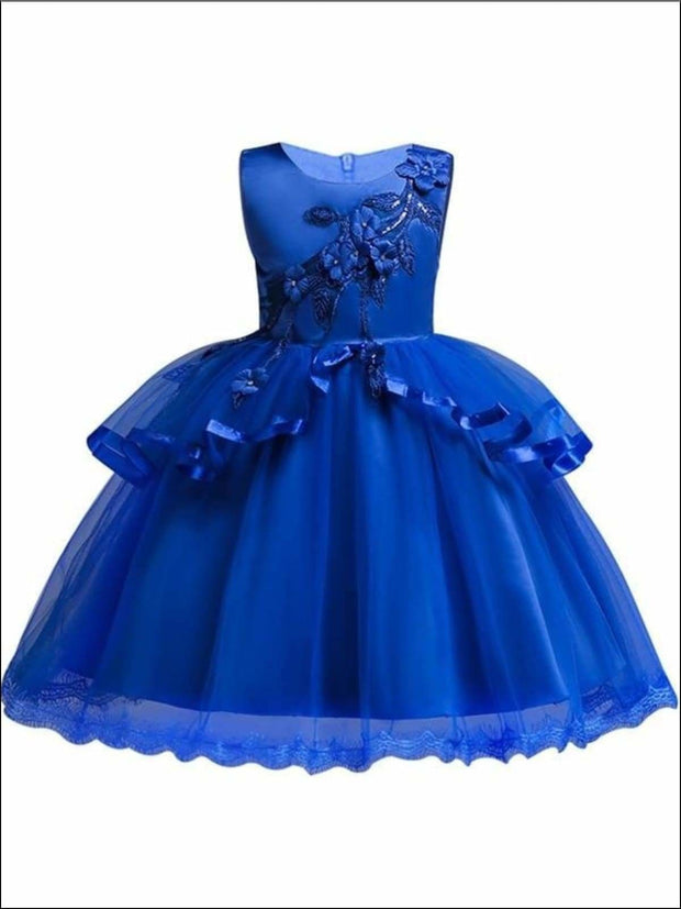 Girls Tiered Ruffle Flower Applique Special Occasion Dress - DARKBLUE / 3T - Girls Dressy Dresses