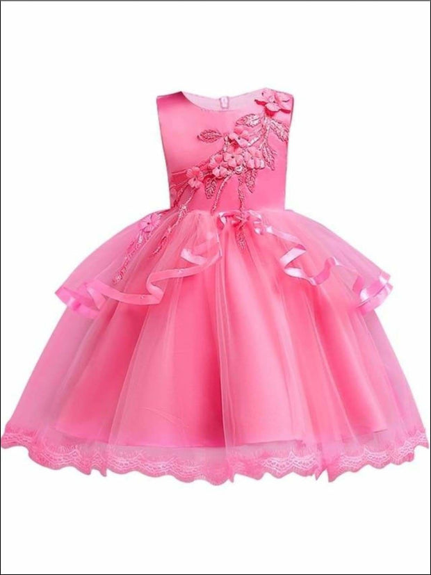 Girls Tiered Ruffle Flower Applique Special Occasion Dress - ROSE / 3T - Girls Dressy Dresses