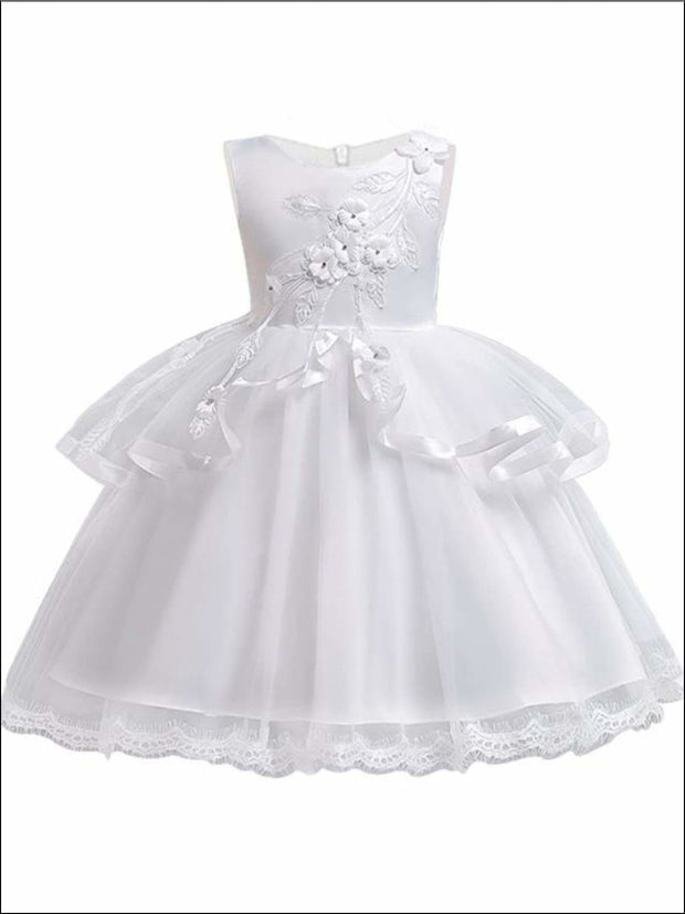 Girls Tiered Ruffle Flower Applique Special Occasion Dress - WHITE / 3T - Girls Dressy Dresses