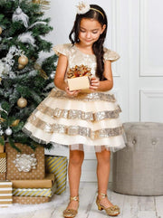 Girls Tiered Ruffle Sequined Holiday Dress - Girls Fall Dressy Dress