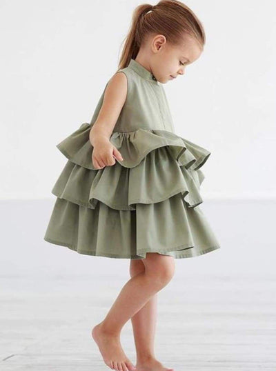 Girls Tiered Ruffle Sleeveless Summer Dress (2 Colors) - Girls Spring Casual Dress