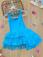 Girls Tiered Ruffled Asymmetric Racerback Dress - Turquoise / 2T - Girls Spring Casual Dress