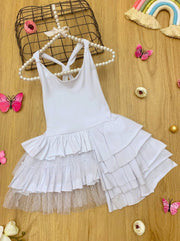 Girls Tiered Ruffled Asymmetric Racerback Dress - White / 3T - Girls Spring Casual Dress