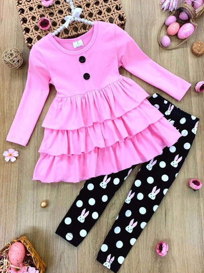 Girls Tiered Ruffled Button Tunic and Bunny Polka Dot Leggings Set - Pink / 2T - Girls Easter Set